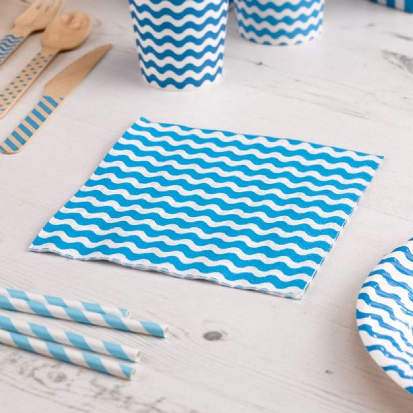 Carnival Blue Napkins - Waves (20)
